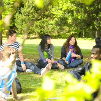 Group talking in park