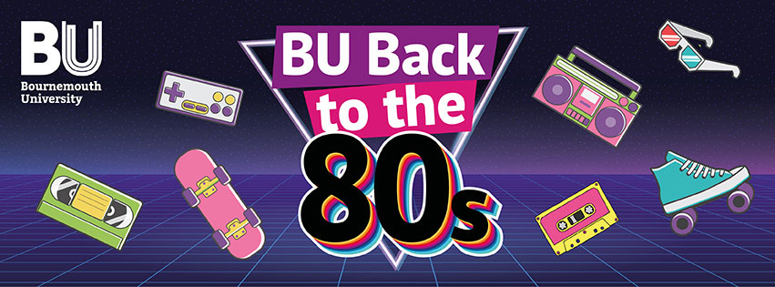 Back to the 80s banner image featuring various 80s memorabilia icons