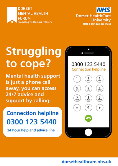 Connection poster featuring the freephone number, 0300 123 5440, advising that mental health support is just a phone call away, 24 hours a day