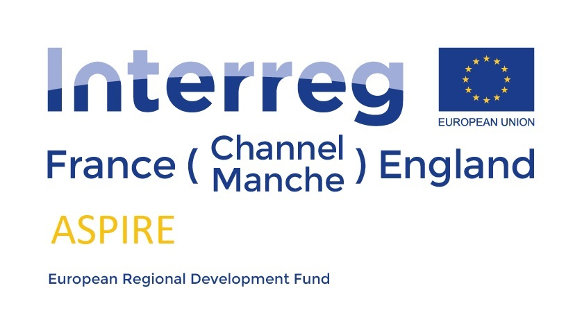 The project logo, featuring Interreg France (Channel Manche) England, the project name, Aspire, and the European Regional Development Fund