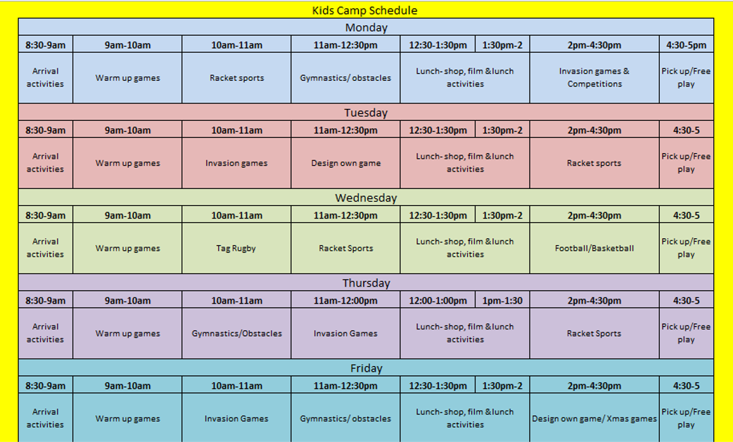 A graphic featuring an example of our weekly kids camps template