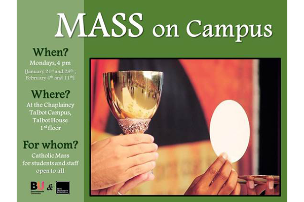 Mass on campus flyer