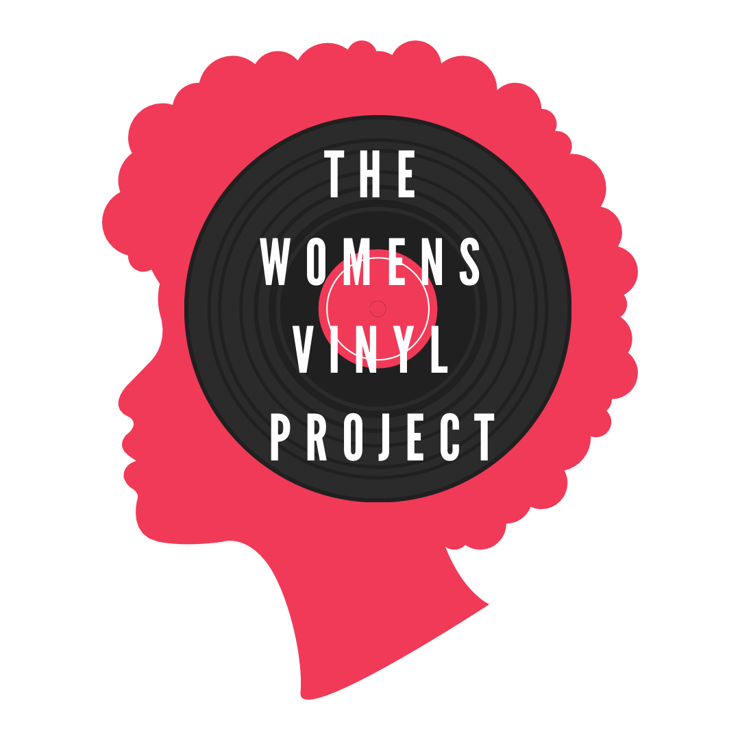 The Women's Vinyl Project logo, featuring an image of a vinyl record on a red silhouette of a woman's head