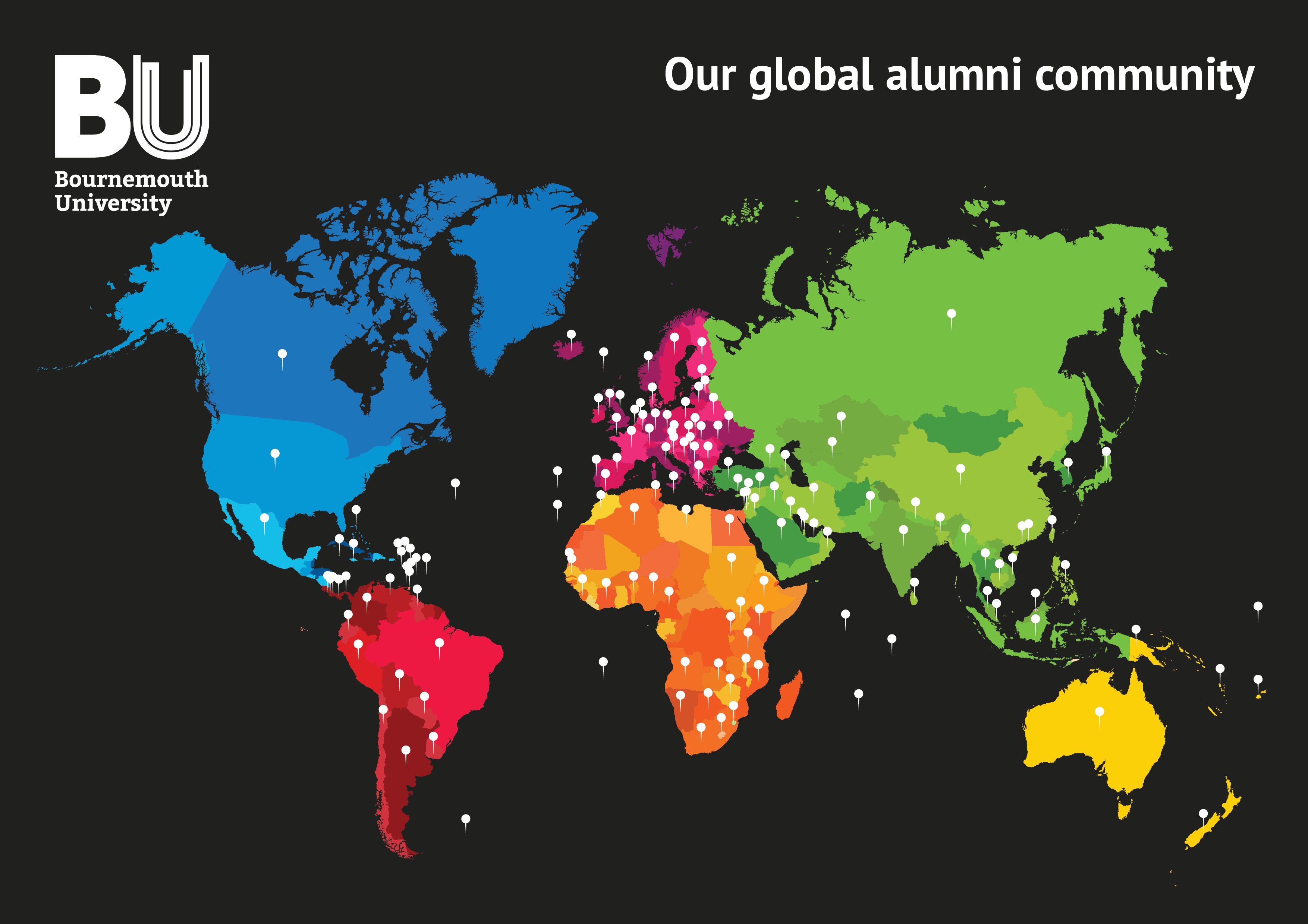 A map showing where BU's global community of alumni live