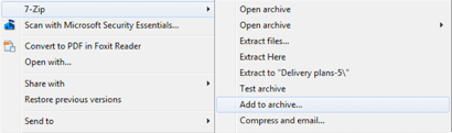 7-Zip menu with 'Add to archive' option selected