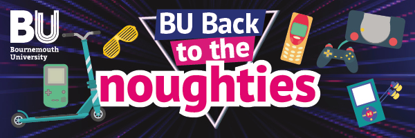 A graphic featuring the text, 'back to the noughties', and various icons relating to the decade