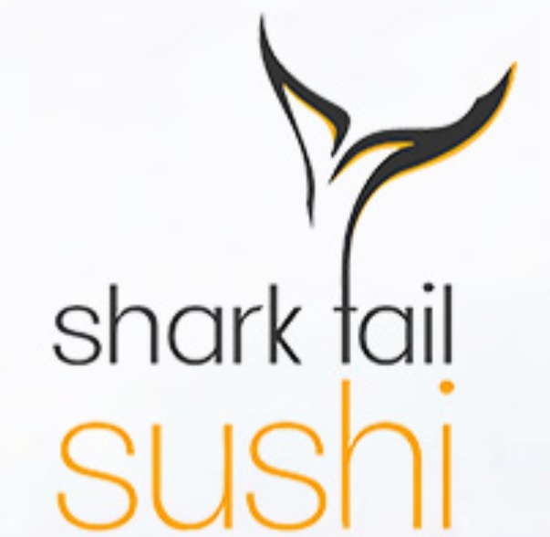 Shark Tail Sushi logo, featuring the brand name and a tail grahpic