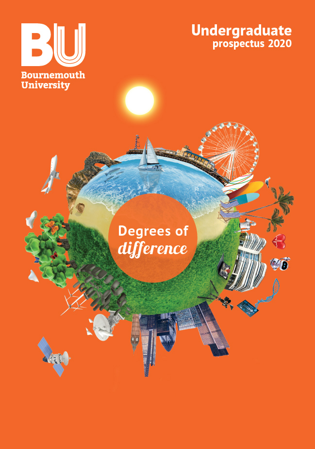 The front cover of the 2020 Undergraduate Prospectus, featuring the degrees of difference logo surrounding by different elements of BU