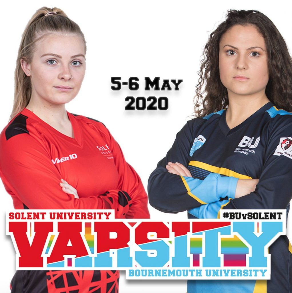 Women from the Varsity competition and logo