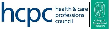 Health & Care Professions Council Accrediatation logo and College of Occupational Therapists logo