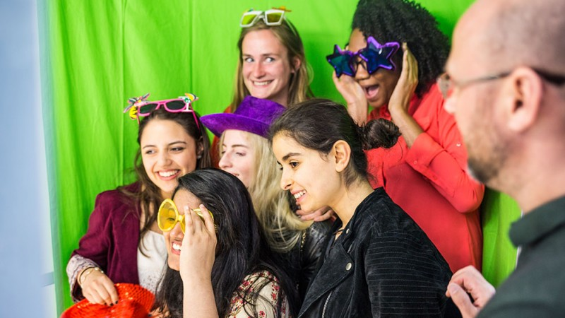 GTP students in photo booth