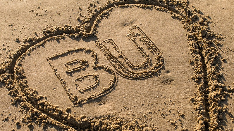 I heart BU in the sand