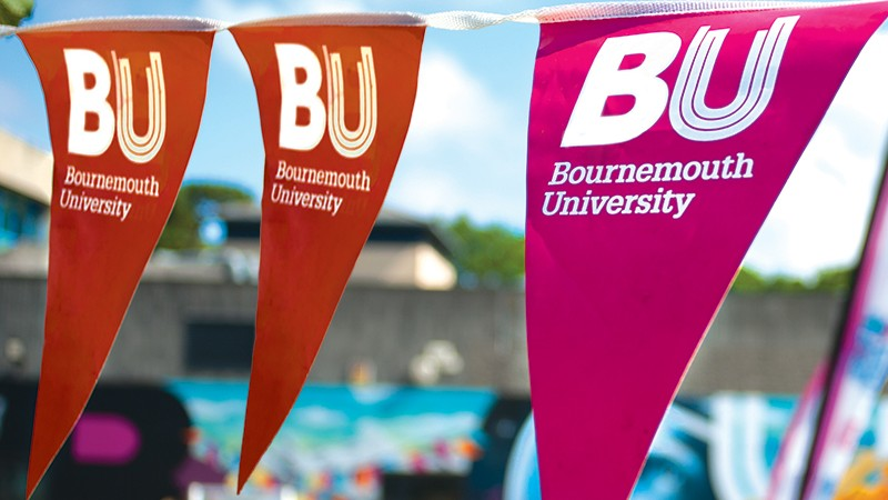 BU-branded bunting on display at an Open Day