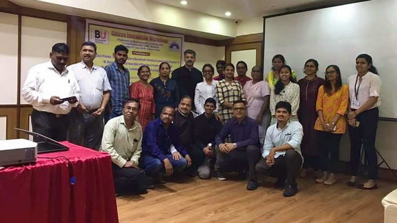 'Social Journalism' amongst Social Work students in Mumbai: Social Work students and paraprofessionals at the Citizen Journalism Workshop organised by BU and the Committed Action for Relief and Education (CARE)