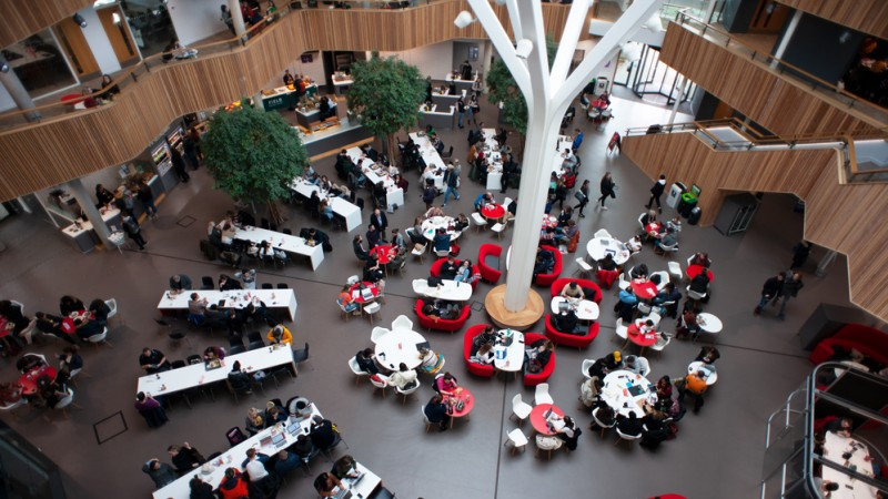 The Fusion Building atrium/canteen area from an upper floor