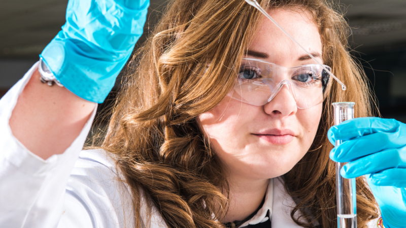 A student working in a forensic lab