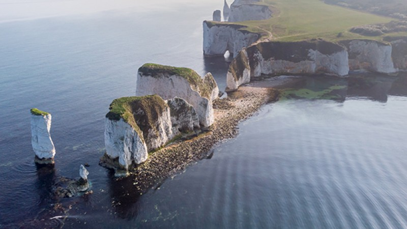 An aerial shot of Old Harry Rocks on the Jurassic Coast