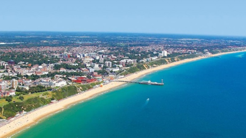 An aerial view of the Bournemouth coastline