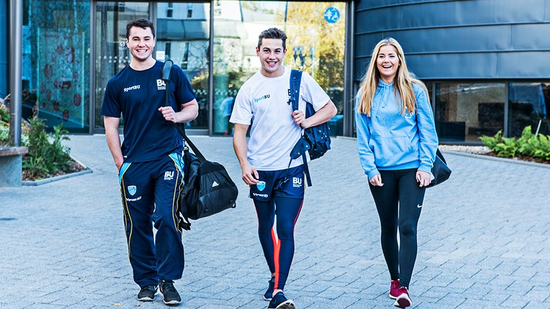 SportBU athletes outside fusion building