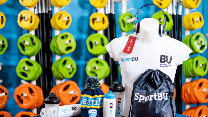 A selection of SportBU merchandise