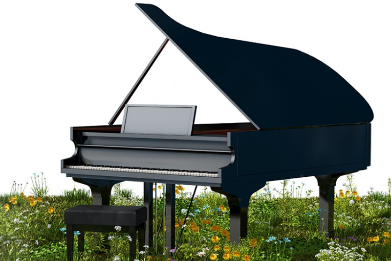 piano with spring flowers