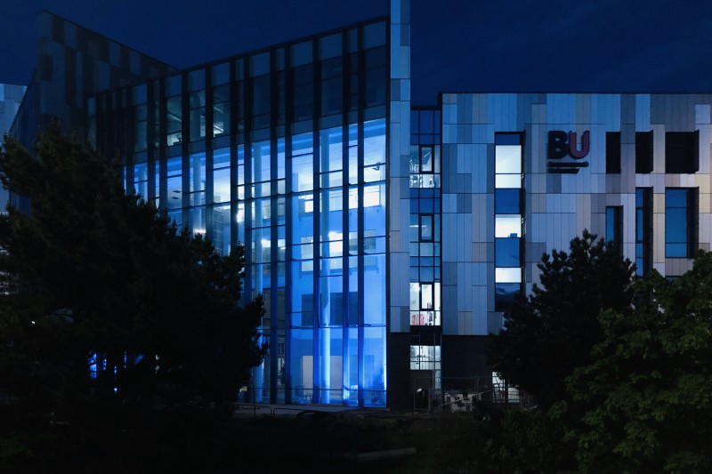 Thank you, NHS: Bournemouth University healthcare building turns blue