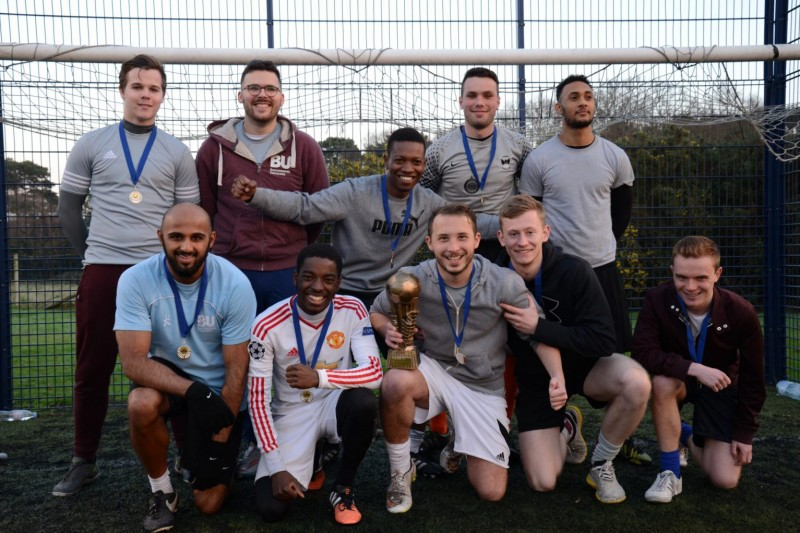 A victorious team from a Campus Sport 5-a-side league