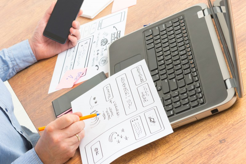 Designer working at computer