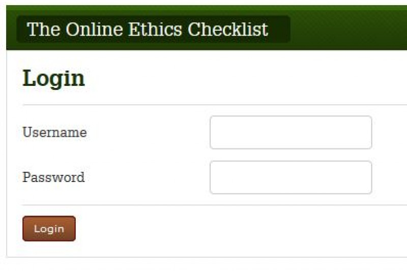 Online Ethics Checklist log in screen image