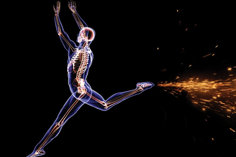 Skeletal X-ray of person moving