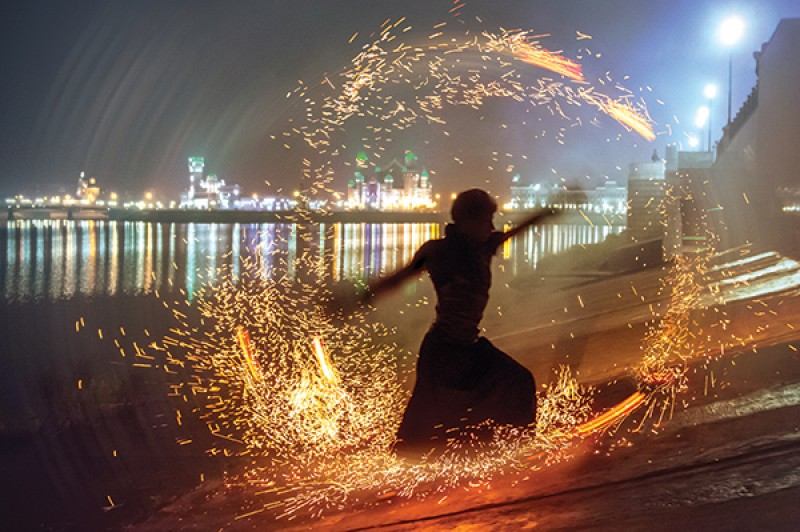 A pyrotechnic dance