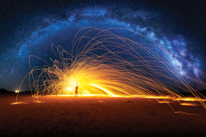 A spinning poi-style effect of glowing strands from sparks