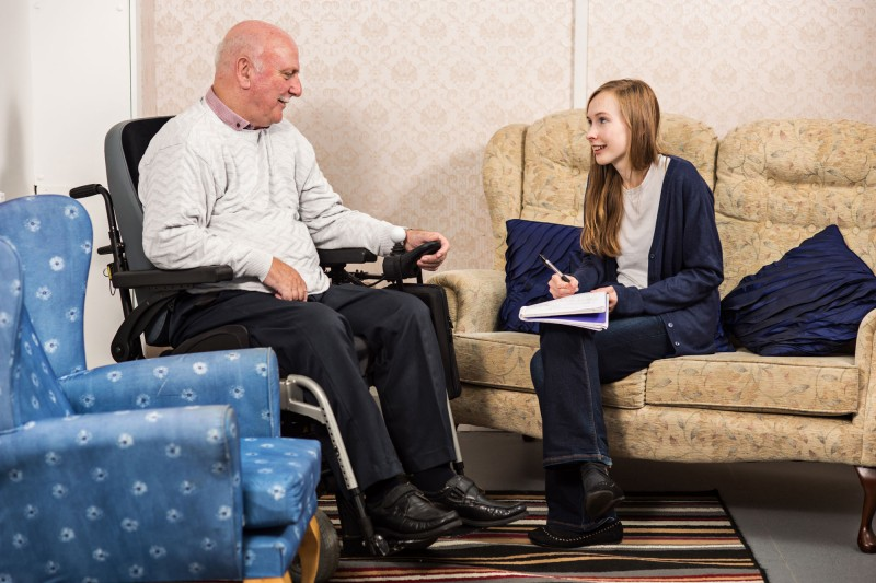 Student and service user talking