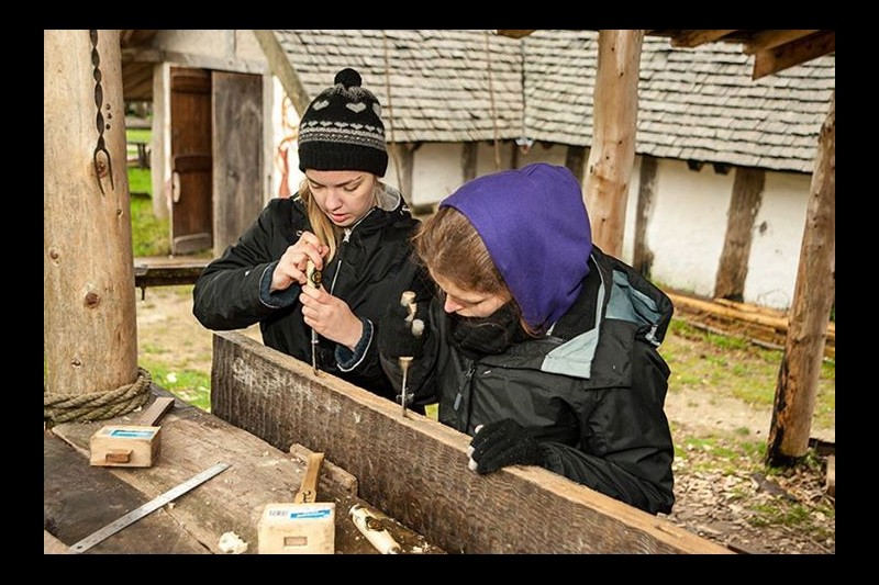 Lowri doing woodwork