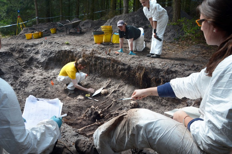 Students unearth simulated war graves at the Trigon Estate