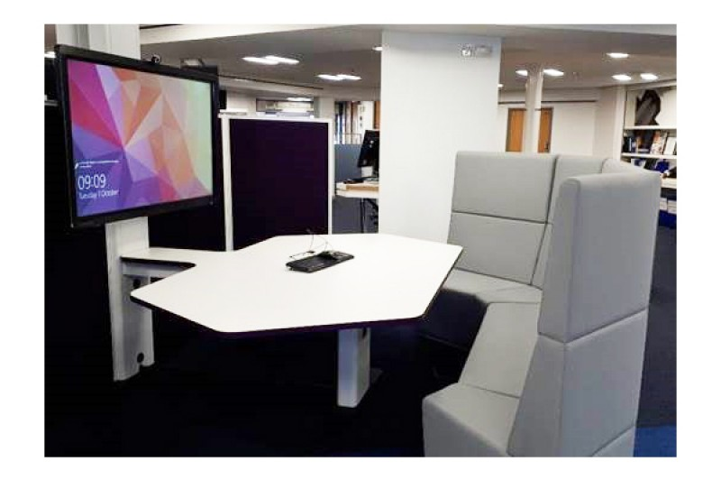 Library technobooths with bench