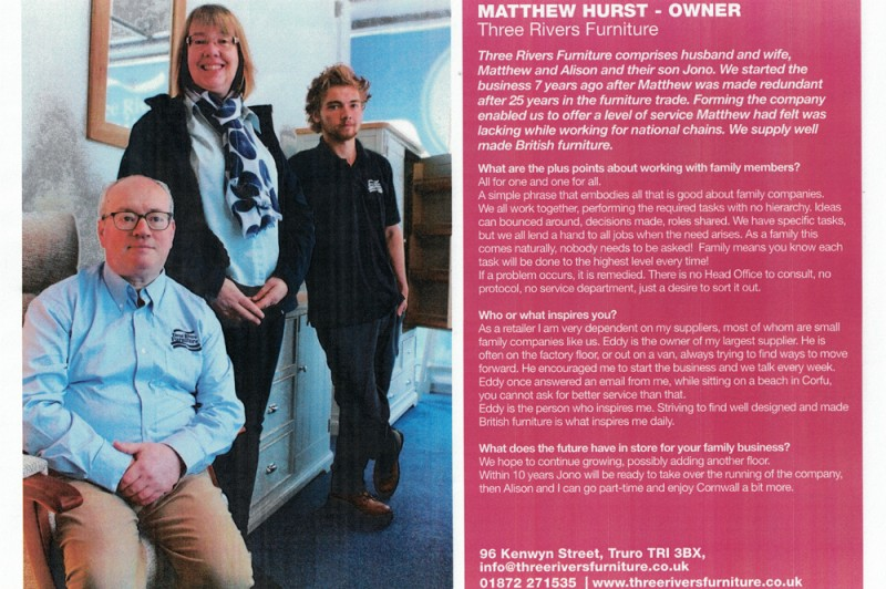 A photo of Matthew, Alison and son Jono alongside a Q&A about the family business with Matthew