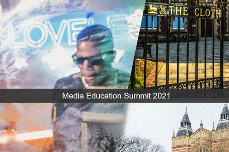A collage of images relating to the Media Education Summit