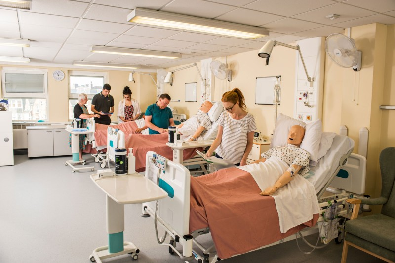 Students examining patients