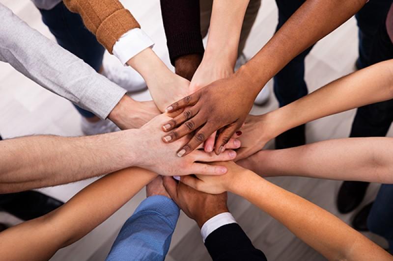 image of volunteers hands