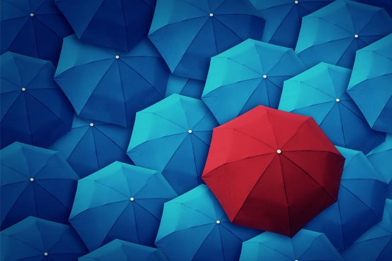 Red umbrella in a collection of blue umbrellas