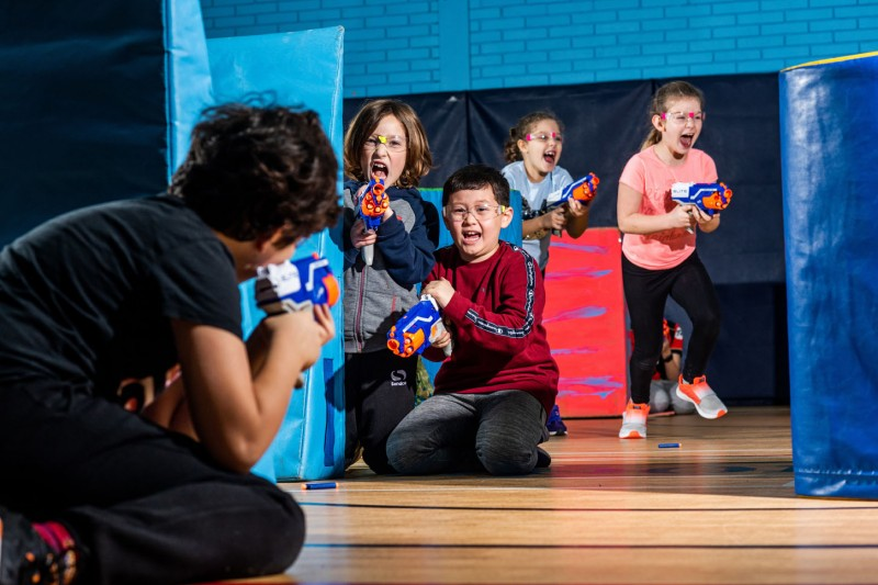 A SportBU Neon Nerf Wars party in action. Taking place in the Sports Hall on our Talbot Campus, it's the perfect venue for a party – whatever the weather.