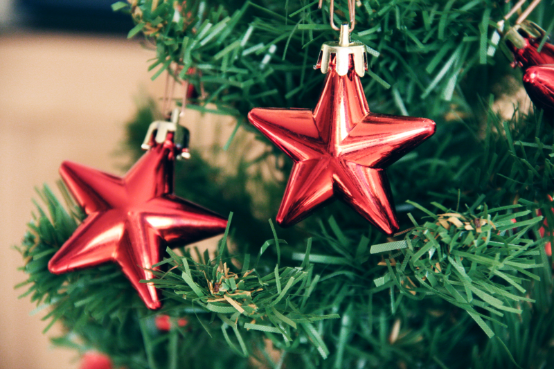 Christmas tree and red star decoration