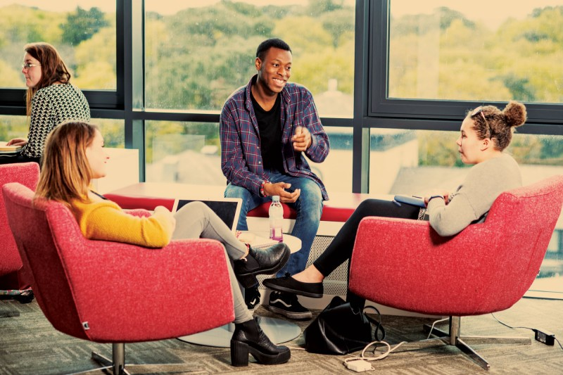 Students talking in Student Centre