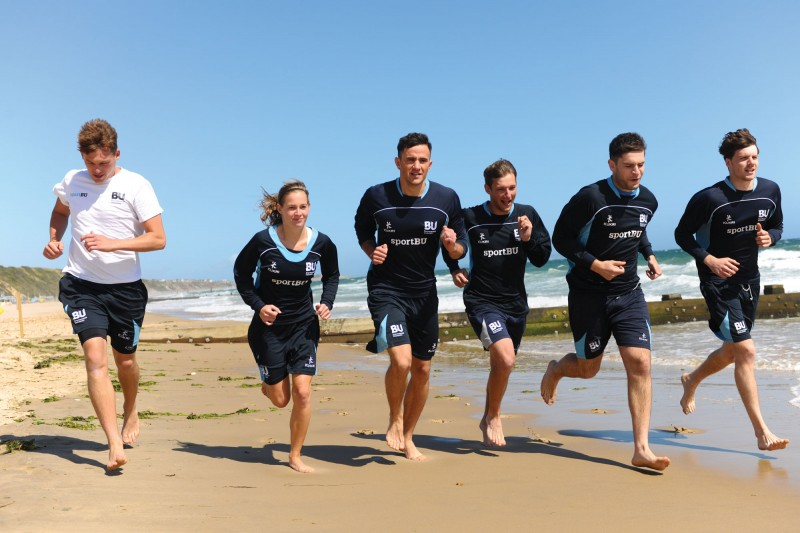 Sports training on the beach