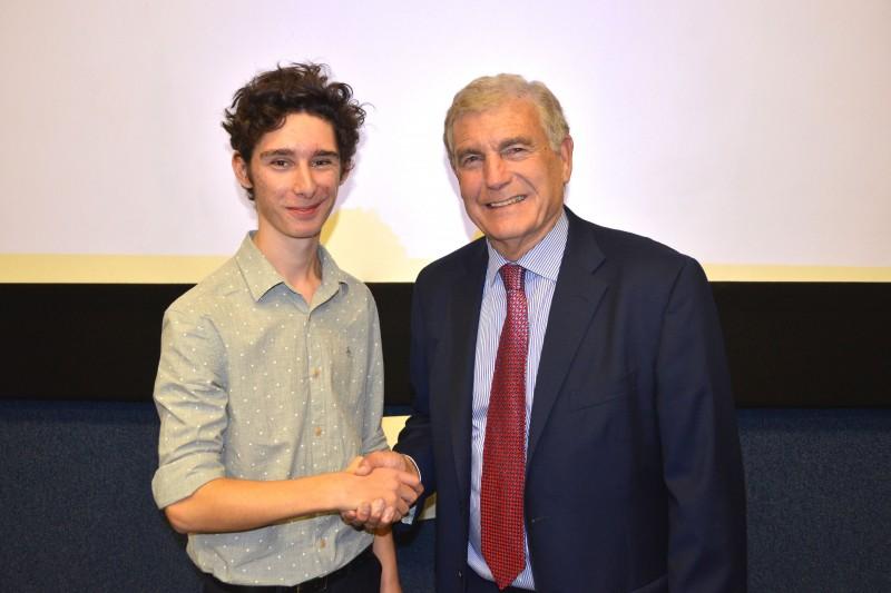 Trevor Brooking with BU student Grant Hilborne