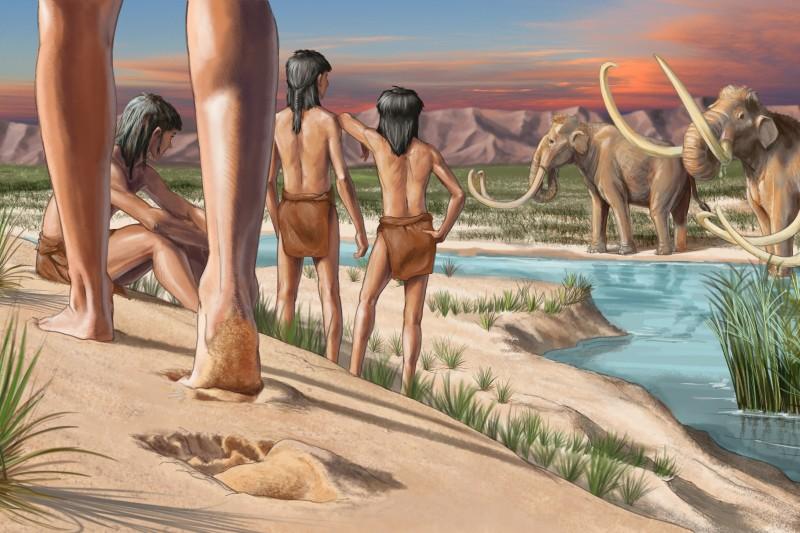Earliest footprints White Sands paleoart