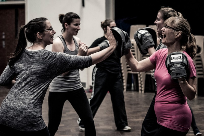 Self defence class in action