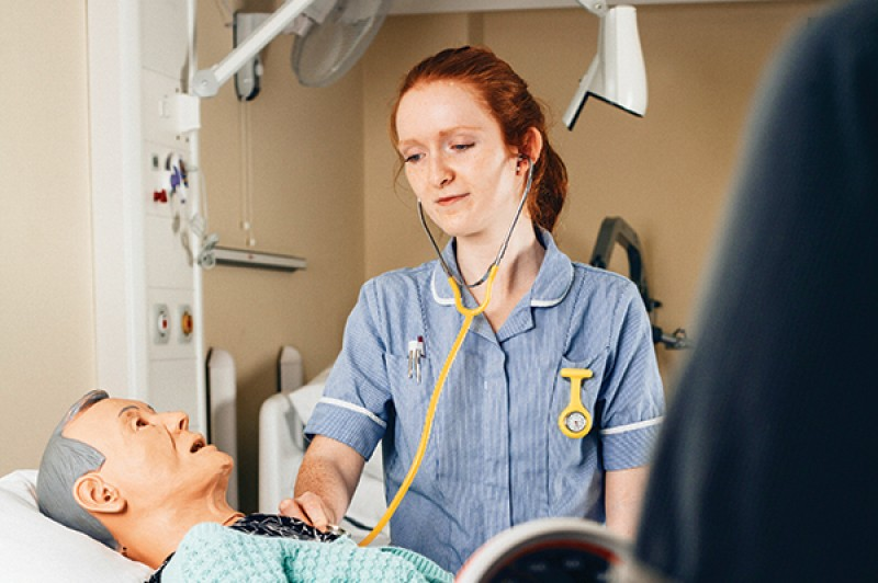 An Adult Nursing student in a practical session