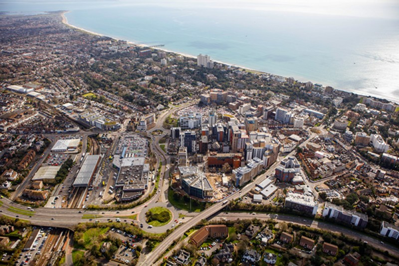 Aerial shot of Bournemouth, including our Lansdowne Campus, looking out to sea